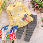 Toddler Kids Baby Girl Autumn Outfits T-Shirt Tops Dress Plaid Pants Clothes Set