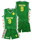 Boys BOSTON Basketball Sport Vest Top & Shorts Outfit Set 3-14 Years NEW
