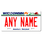 Personalized Wisconsin License Plate for Bicycles, Kid's Bikes & Cars Ver 1