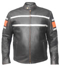 Mens Black & Orange Leather Motorcycle Jacket With Gun Pockets 6604.16