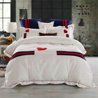 1000TC Egyptian Cotton Red Striped White Embroidery Quilt Doona Duvet Cover Set
