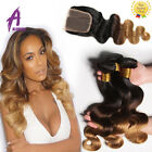 Body Wave Ombre 3 Bundles Brazilian Hair with Closure Human Hair Extensions
