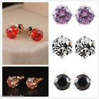 1Pair New Women Jewelry Rhinestone Zirconis Ear Stud Earrings 6mm
