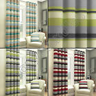 STRIPED GROMMET FULLY LINED PAIR EYELET READY MADE 2 CURTAINS BLACK RED CREAM