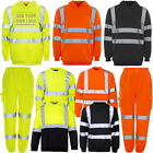 Hi Vis Viz Visibility Hooded Sweatshirt Jogging Bottom Pants Hoody Crew Neck NEW
