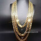"24""/27""/30"" 10mm Stapmed 24KGL Yellow Gold Filled Chain Curb Link Necklace"