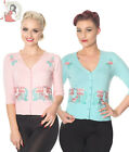 DANCING DAYS by banned FACE TO FACE 50s style FLAMINGO CARDIGAN BLUE PINK