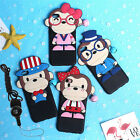 3D Monkey Couple Lover Soft Case Cover With a Bell +Lanyard For Cell Phones New