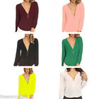 Women Casual Solid  Long Sleeve Chiffon Casual Blouse Shirt Tops Fashion Blouse