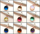 925 Sterling Silver Birthstone Crystal Pendant Dangle To European Charm Necklace