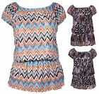 Womens Printed Ladies Stretch Off Shoulder Lace Elasticated Gypsy Top Plus Size