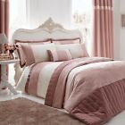 LUXURY SLUB SILK SEQUIN JACQUARD BLUSH PINK CREAM BEDDING QUILT DUVET COVER SET
