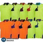 Mens Hi Vis Arm Panel Polo Shirt Top Workwear Breathable Size XS-5XL New 6AP4S