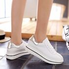 Womens Leather Round Toe Lace up Platforms Wedges Sleeky Sneaker Athletic Shoes