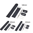 Black Silicone Rubber Watch Strap Band Deployment  Waterproof 18mm 20mm 22mm