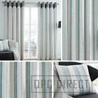 Pair of Striped 100% Cotton Eyelet Ring Top Lined Curtains, Duckegg Grey Teal