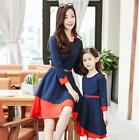 New Spring Mother Daughter Family Dresses Girls Long Sleeve Dots Dress Clothing