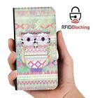 RFID Protected Owl Bird PU Leather Wallet Custom Case Cover for Samsung Galaxy