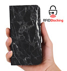 RFID Protected Black Marble PU Leather Phone Wallet Case Cover Samsung Galaxy