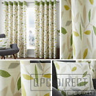 Pair of Leaves 100% Cotton Eyelet Ring Top Lined Curtains, Cream Ohcre Green