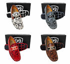 Men PHAT FARM tan charcoal red brown faux leather snake driving slip on shoes