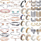Newest Women Charm Crystal Rhinestone Gold/Silver P Bangle Cuff Bracelet Jewelry