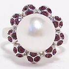 Large White Pearl Cocktail Flower Fashion Ring Size 7.5 8 8.5 Silver New Purple