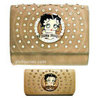 Betty Boop circle quilted Rhinestone wallet cross shoulder bag set purse party