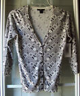H&M 3/4 Sleeve Black & White Geo-Print Design Button-Front Cardigan Sweater