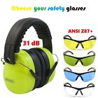 Jorestech Ear Muffs and Shooting Glasses Combo Pack. yellow blue green clear