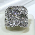 18K White Gold Filled AAA CZ Women Fashion Jewelry Luxury Ring R6797 Size 5-10