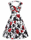 Stock Sleeveless Hollowed Back Retro Vintage 50s Cotton Party Picnic Prom Dress