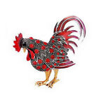 Multi-colors Fashion Chicken Rooster Hen Animal Brooch Pin Clear Crystal Stones