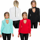 Peplum Long sleeves Shirt with Cutout top Blouse S 34 36 Party Office new