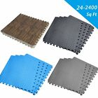 LOT 24~ 2400Sq Ft EVA Foam Floor Interlocking Mat Show Floor Gym Mat Black Wood
