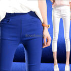 Womens Pants Fashion Casual Pencil Pants Slim Fit Cropped Trousers Capris S-3XL