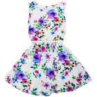 NEW Girls Floral Print Skater Dress with Belt Ages 7-8,9-10,11-12,13 Years