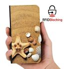 Beach Shells Luxury Flip Cover Wallet Card PU Leather Phone Case Stand Galaxy