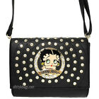 Betty Boop black circle quilted Rhinestone stitch cross shoulder party bag purse $25.89 USD