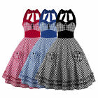 Womens Halter Vintage Retro Check 50s 60s Pinup Rockabilly Swing Party Dress New