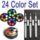 24 Color Pigment Watercolor Kit Tool Set Opaque Solid + Water Brush S M L