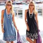 Fashion Women Summer Sleeveless Floral Loose Sundress Beach Casual Prom Dress HX
