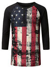 HIGA Men's Flag Printed Long Sleeve Slim Casual T Shirt Graphic Tee Tops Blouse