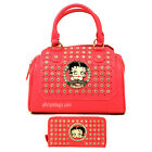 Betty Boop pink embossed rhinestone shoulder boxer wallet bag set purse handbag $93.21 CAD