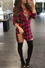 Women Sexy Deep V Neck Party Dress Red Plaid Lace Up Shirt Dress Long Sleeve  HX