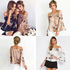 Women Off Shoulder Blouse Tops Ladies Flare Sleeve Floral Chiffon Loose Shirt