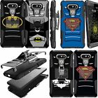 For LG G6 and LG G5 Phone Holster Case Clip Hybrid Armor Batman Superman