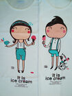 Cute Couple T-Shirt- Ice Cream Lover-Grey/White S/M/L 100% Cotton From Thailand