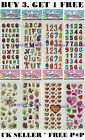 10 Sheets Numbers Shapes Pattern Stickers Party Bag Fillers Scrap Book Gift Toys