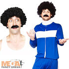 80s Retro Trackie + Wig Mens Fancy Dress 1980s Scouser Tracksuit Adults Costume